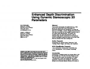 Enhanced Depth Discrimination Using Dynamic Stereoscopic 3D Parameters