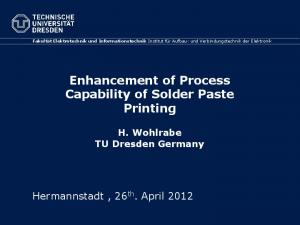 Enhancement of Process Capability of Solder Paste Printing