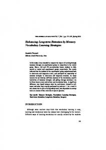 Enhancing Long-term Retention by Memory Vocabulary Learning Strategies