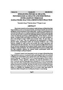 ENHANCING PHYSICAL HEALTH, PSYCHOLOGICAL HEALTH AND EMOTIONAL INTELLIGENCE THROUGH SAHAJ MARG RAJ YOGA MEDITATION PRACTICE