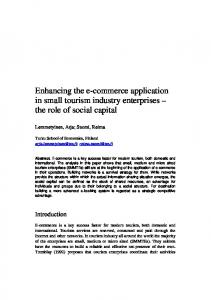 Enhancing the e-commerce application in small tourism industry enterprises the role of social capital