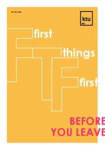 en.ktu.edu BEFORE YOU LEAVE first things first