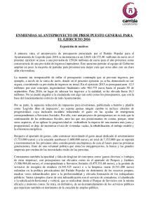 ENMIENDAS AL ANTEPROYECTO DE PRESUPUESTO GENERAL PARA EL EJERCICIO 2016
