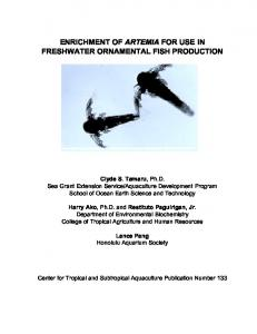 ENRICHMENT OF ARTEMIA FOR USE IN FRESHWATER ORNAMENTAL FISH PRODUCTION