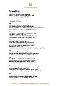 Enrique Marty. Selected solo exhibitions