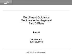 Enrollment Guidance Medicare Advantage and Part D Plans