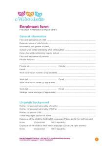 Enrolment form Preschool Interactive bilingual centre