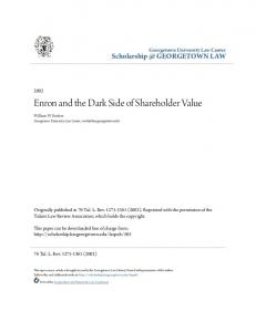 Enron and the Dark Side of Shareholder Value