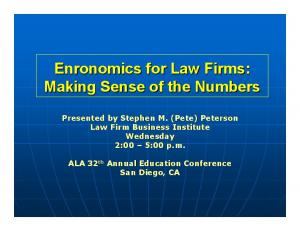 Enronomics for Law Firms: Making Sense of the Numbers