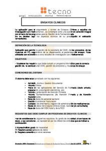 ENSAYOS CLINICOS REQUISITOS QUE DEBE CUMPLIR UN PROGRAMA DE ENSAYOS CLINICOS