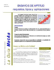 ENSAYOS DE APTITUD requisitos, tipos y aplicaciones