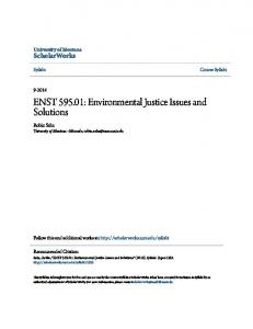 ENST : Environmental Justice Issues and Solutions