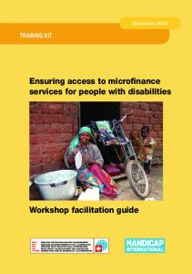 Ensuring access to microfinance services for people with disabilities