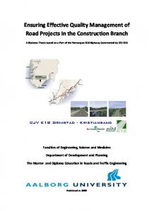 Ensuring Effective Quality Management of Road Projects in the Construction Branch