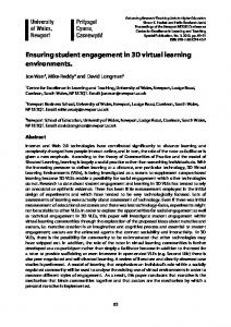 Ensuring student engagement in 3D virtual learning environments