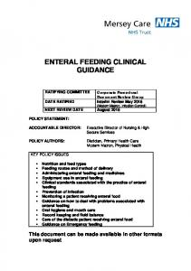 ENTERAL FEEDING CLINICAL GUIDANCE