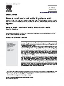 Enteral nutrition in critically ill patients with severe hemodynamic failure after cardiopulmonary bypass