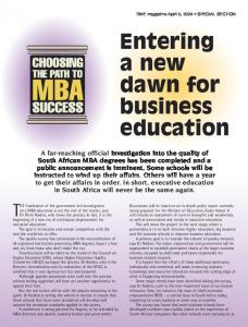 Entering a new dawn for business education