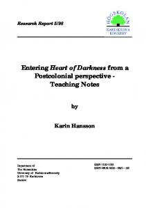 Entering Heart of Darkness from a Postcolonial perspective - Teaching Notes