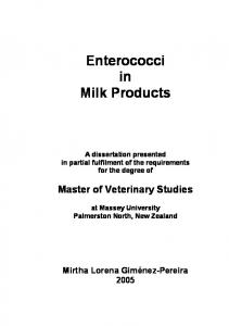 Enterococci in Milk Products