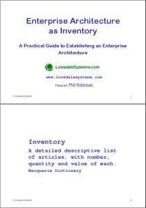 Enterprise Architecture as Inventory