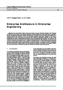 Enterprise Architecture in Enterprise Engineering