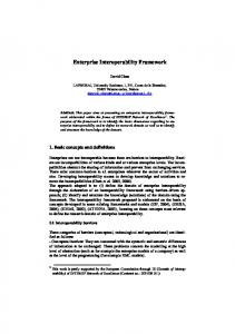 Enterprise Interoperability Framework