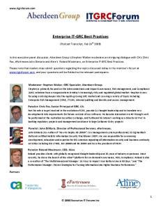 Enterprise IT-GRC Best Practices