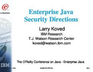 Enterprise Java Security Directions