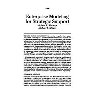 Enterprise Modeling for Strategic Support