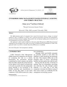 ENTERPRISE RISK MANAGEMENT BASED INTERNAL AUDITING AND TURKEY PRACTICE