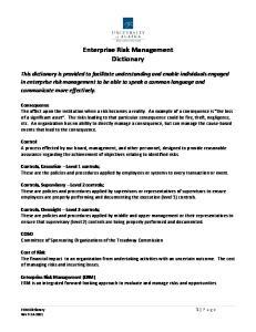 Enterprise Risk Management Dictionary