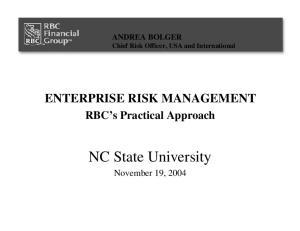 ENTERPRISE RISK MANAGEMENT RBC