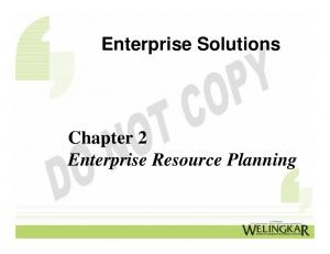 Enterprise Solutions. Chapter 2 Enterprise Resource Planning