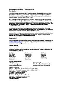 Entertaining South Wales An Encyclopaedia Introduction. Help wanted! Vivyan Ellacott