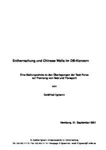 Entherrschung und Chinese Walls im DB-Konzern