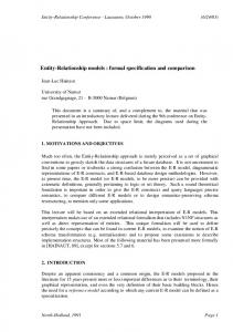Entity-Relationship models : formal specification and comparison