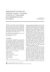 Entpreprenerial Universities and Technology Transfer: A Conceptual Framework for Understanding Knowledge-Based Economic Development