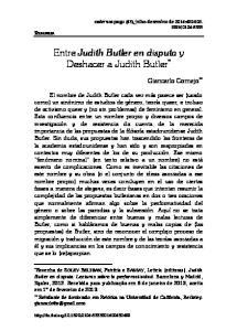 Entre Judith Butler en disputa y Deshacer a Judith Butler *