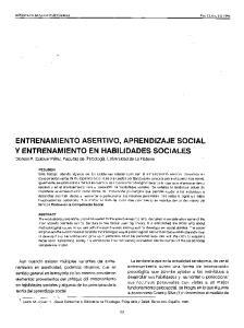 ENTRENAMIENTO ASERTIVO, APRENDIZAJE SOCIAL Y ENTRENAMIENTO EN HABILIDADES SOCIALES