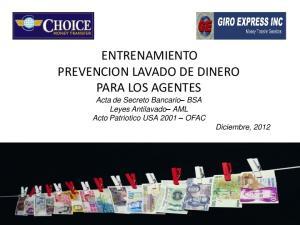 ENTRENAMIENTO PREVENCION LAVADO DE DINERO PARA LOS AGENTES