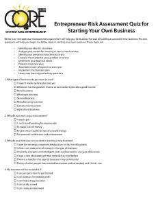 Entrepreneur Risk Assessment Quiz for Starting Your Own Business