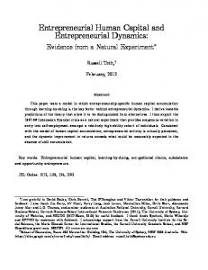 Entrepreneurial Human Capital and Entrepreneurial Dynamics: