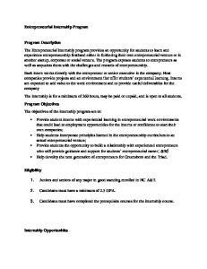 Entrepreneurial Internship Program