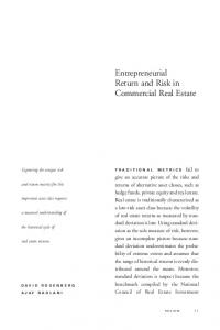 Entrepreneurial Return and Risk in Commercial Real Estate