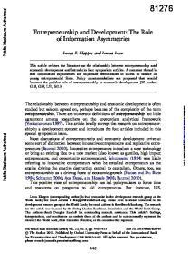 Entrepreneurship and Development: The Role of Information Asymmetries