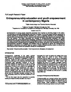 Entrepreneurship education and youth empowerment in contemporary Nigeria