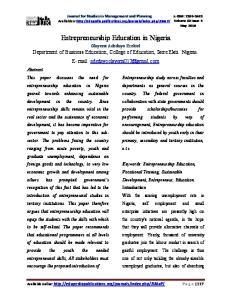 Entrepreneurship Education in Nigeria Olayemi Adedayo Ezekiel