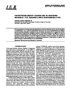 ENTREPRENEURSHIP EDUCATION IN NIGERIA S SCHOOLS: THE COUNSELLOR S RESPONSIBILITIES