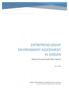 ENTREPRENEURSHIP ENVIRONMENT ASSESSMENT IN JORDAN